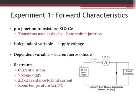 diode characteristics experiment results characteristics of semiconducting diodes sultan lemarc