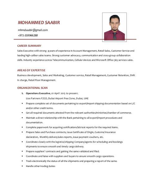 Resume Sles For Uae Sales Driven Resume