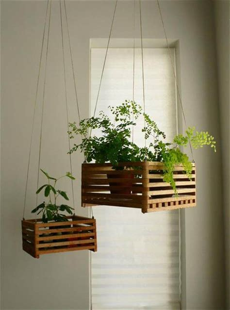 wood hanging flower baskets or planters diy recycled