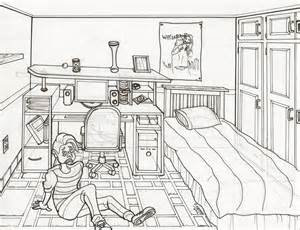 2 Point Perspective Room Interior Room Line Drawing 1 By Shamash On Deviantart
