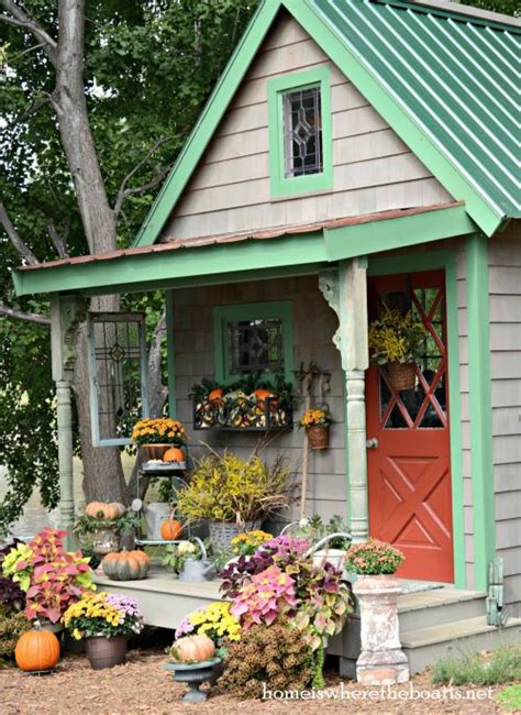 how to design and decorate a she shed creative work space gorgeous fall porch decor this is just the potting shed