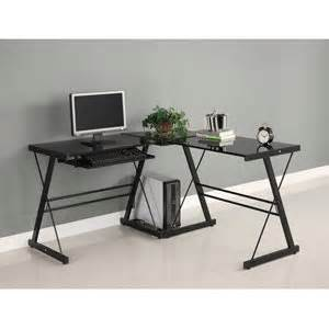 Walker Edison Corner Desk Walker Edison Soreno 3 Corner Desk Black With Black Glass Furniture Decor