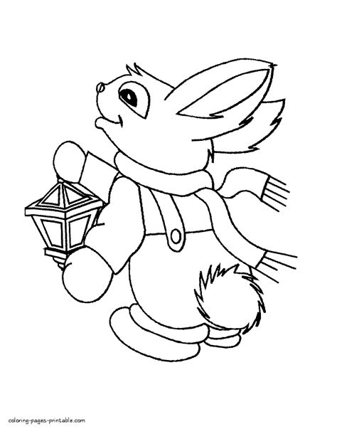 winter rabbit coloring page winter rabbit coloring page
