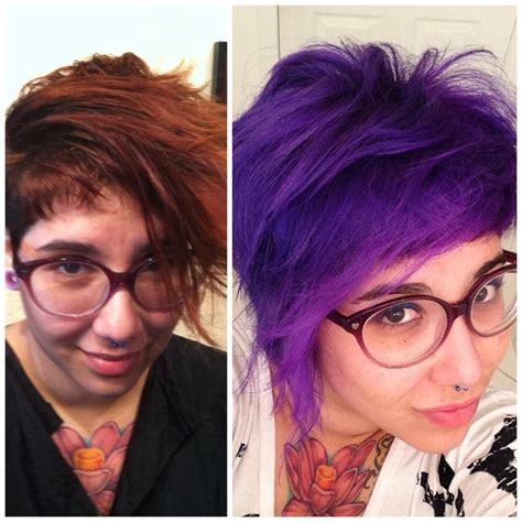 before and after hair color pictures short trendy purple hair hair colors ideas