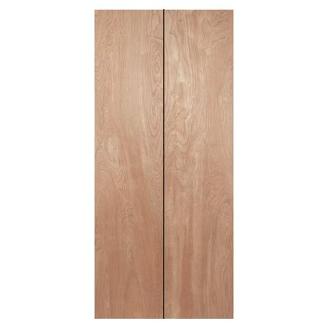Wood Bifold Doors Interior Shop Reliabilt 24 In X 79 In Flush Hollow Wood Interior Bifold Closet Door At Lowes