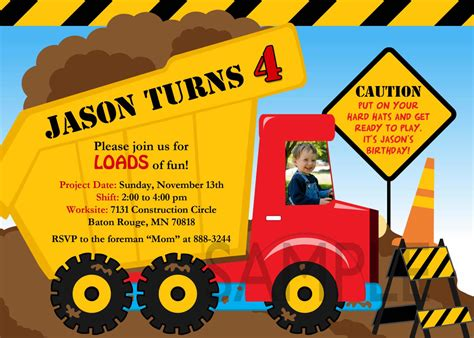 free printable dump truck birthday party invitations