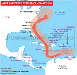 hurricane matthew path map areas affected by hurricane