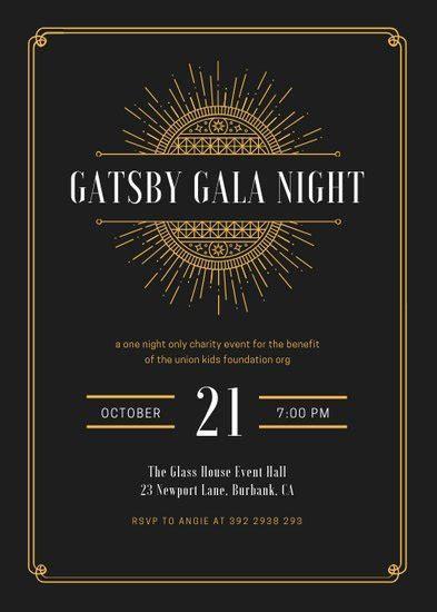 White and Gold Elegant Great Gatsby Invitation   Templates