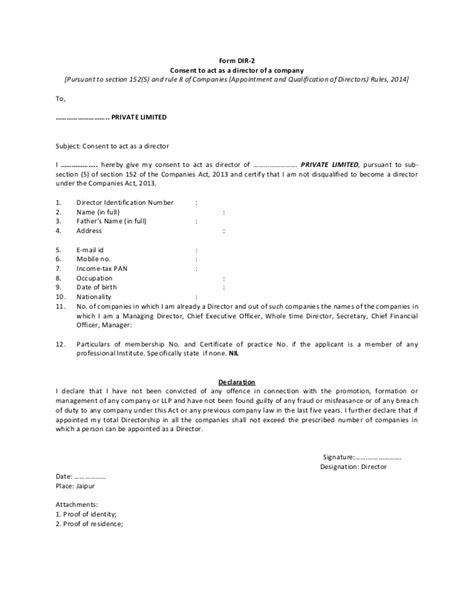 director consent letter format companies act 2013 formats for company incorporations inc 8 inc 9 inc 10