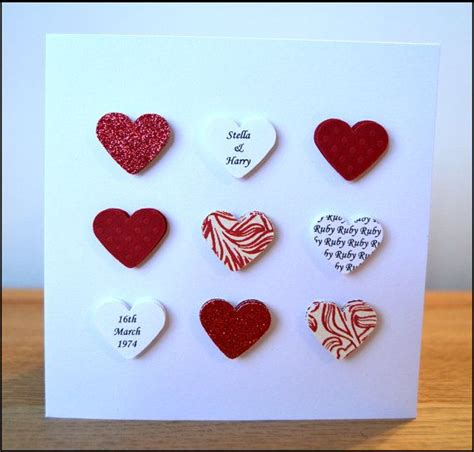 Handmade Ruby Anniversary Cards - handmade personalised ruby wedding anniversary card 40th