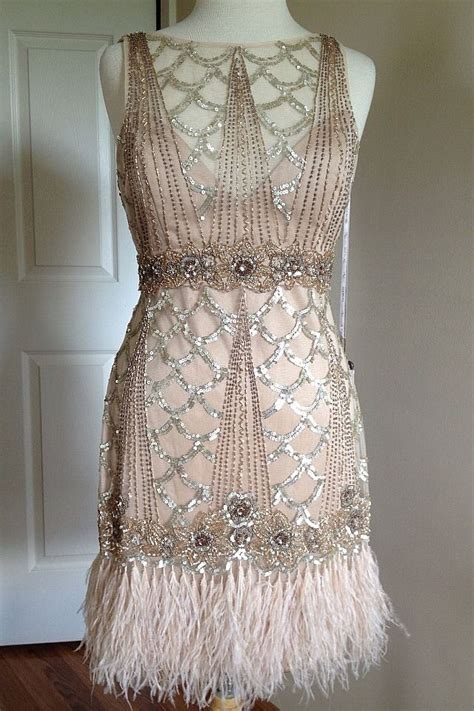 beaded feather dress sue wong gatsby 1920 s chagne beaded sequin feather