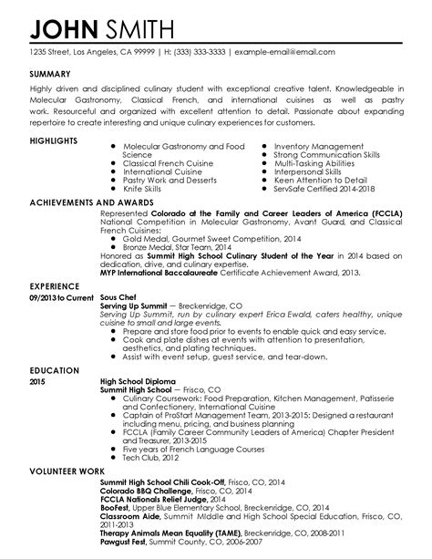 free sous chef resume sles professional sous chef templates to showcase your talent myperfectresume