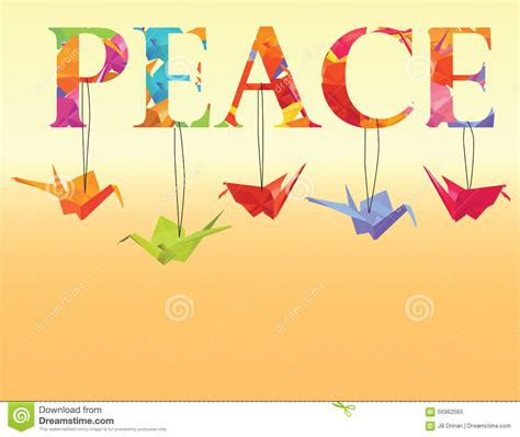 Peace Crane Origami - peace text with colorful origami paper cranes stock