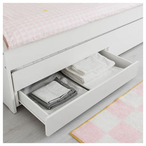 ikea storage bed frame sl 196 kt bed frame with underbed and storage white 90x200 cm