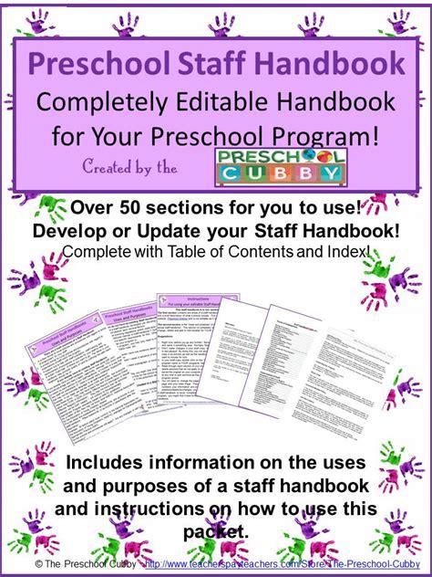 child care handbook template preschool assessment