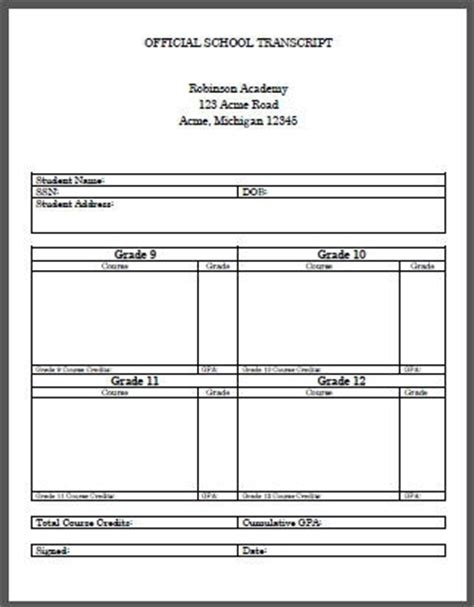 High School Transcript Template Beepmunk Free Homeschool Transcript Template