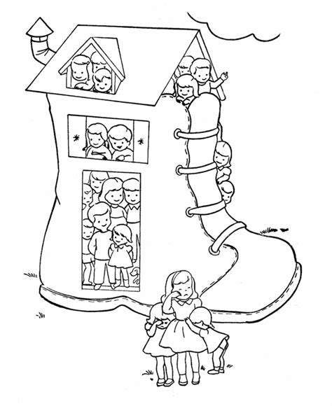 shoe house coloring pages inkspired musings old women too many kids and shoes