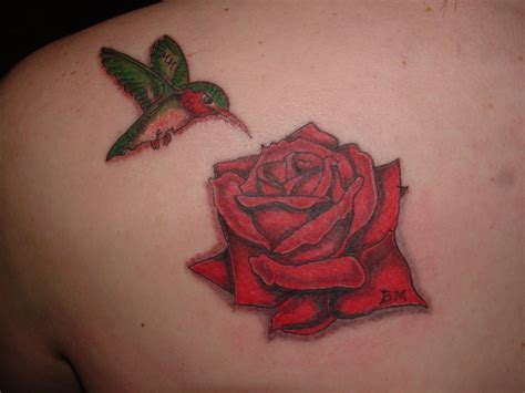 bird and roses tattoo and humming bird tribute picture