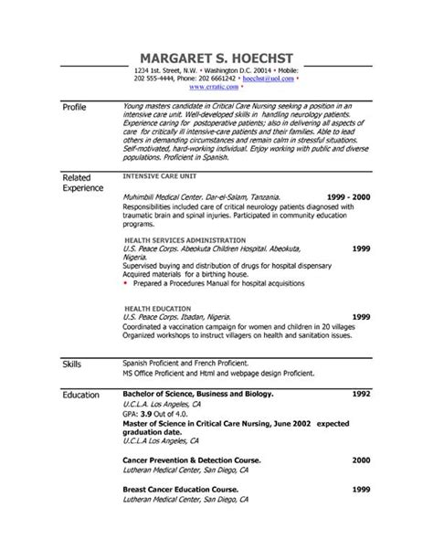 resume exles exle of resume by easyjob the best free exle resumes in a single place