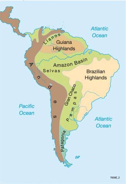 south america map highlands south america 7 continents 1 globe