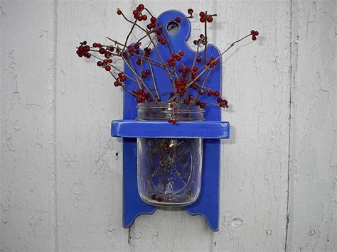 Wall Mounted Vase Holder by Vase Jar Holder Wall Hanging Wood Sconce Blue 25 00 By
