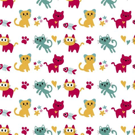 ai apply pattern pattern with cute cats vector free download