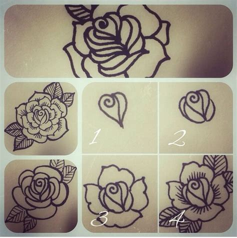 rose tattoo tutorial learn how to henna henna henna flower step by step
