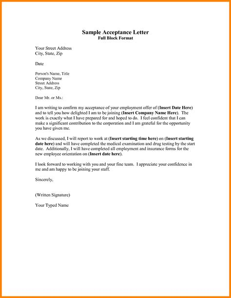 appointment letter format auditor format for acceptance of offer letter image collections