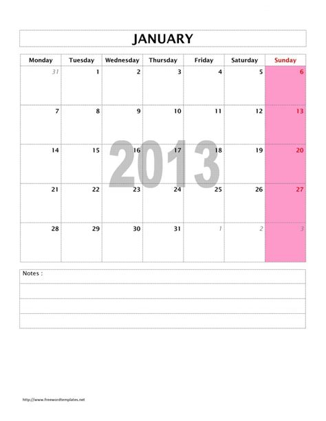 search results for 2013 weekly calendar template word