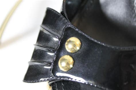 louis vuitton patent espadrille black wedges from