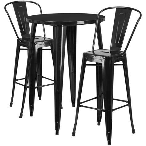 metal bar table set 30 black metal indoor outdoor bar table set with 2