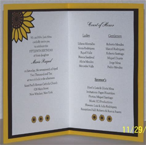 quinceanera program templates quinceanera invitation wording and verses photos