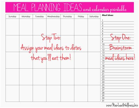 printable meal planner calendar meal plan for two weeks and only grocery shop once new