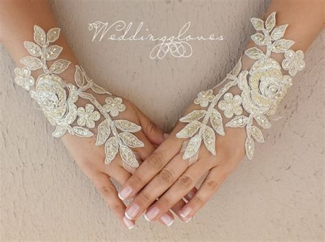 Lace Wedding Gloves chagne wedding gloves lace gloves fingerless gloves