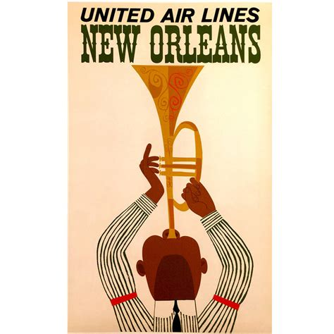 mid century modern period united air lines travel poster