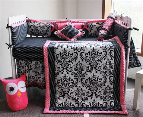 Black And Pink Crib Bedding Sets 15 Pieces Crib Infant Room Baby Bedroom Set Nursery Bedding Floral Black Pink Cot Bedding