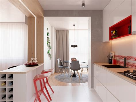 unique kitchen stools 3 modern apartment interiors that masterfully demonstrate how to use red as an artistic accent