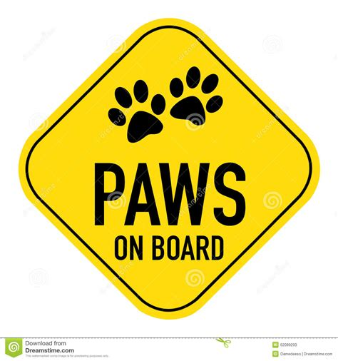 on board paws on board sign stock illustration image 52089293