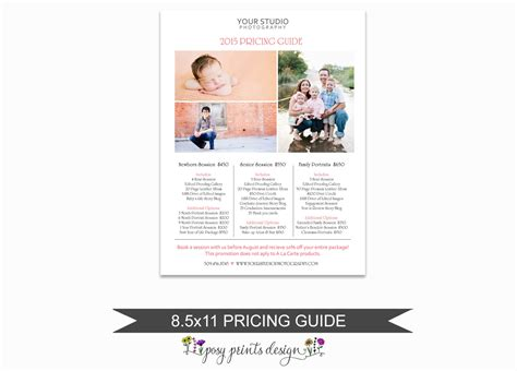 photographer price list portrait pricing guide template