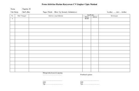 contoh laporan evaluasi kinerja karyawan form laporan kerja karyawan