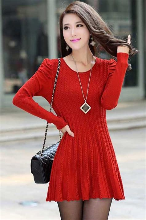 red puff sleeve braided ribbed sweater dress