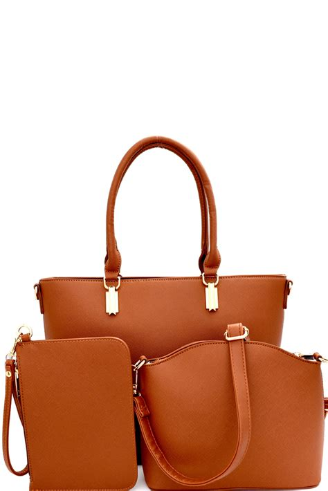 Fashion Embossed Shopper Bag Set 3 In 1 3352 ps1593 p brown saffiano 3 in 1 shopper tote crossbody wristlet set