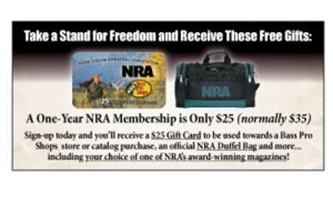 Nra Bass Pro Gift Card - national riffle association free 25 bass pro gift card duffel bag and nra magazine