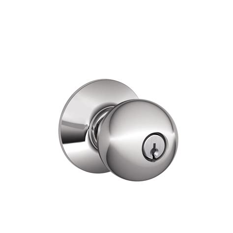 Schlage Chrome Door Knobs shop schlage f orbit bright chrome keyed entry door knob at lowes