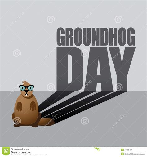 groundhog day type groundhog day type and shadow design stock vector