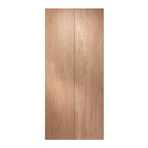 Wood Closet Doors Jeld Wen 30 In X 80 In Woodgrain Flush Hollow Birch Wood Interior Closet Bi Fold Door