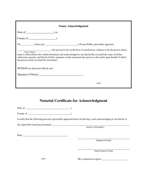 acknowledgement form template best photos of notary certificate template sle