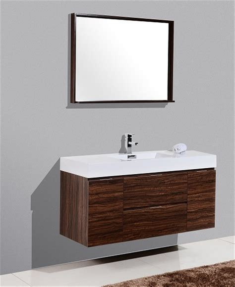modern walnut bathroom vanity bliss 48 quot walnut wall mount single sink modern bathroom vanity
