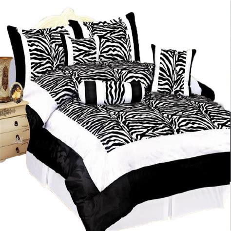 Black Satin Bed Set Zebra Black Flocking Comforter Bed Set Soft Satin New Ebay
