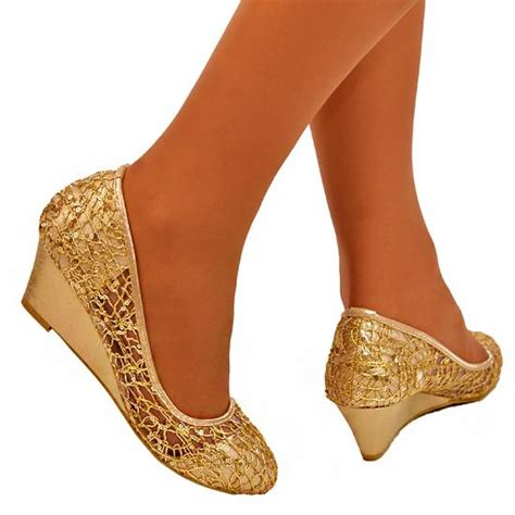 Sparkly Wedges For Wedding by S Light Gold Lace Sparkly Glitter Wedge